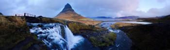 Mountain over Waterfalls Photo