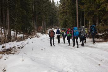 Mountaineers Walking on Snow