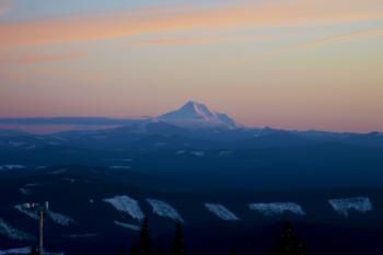 Mt Jefferson from Mt Hood, Oregon, last light