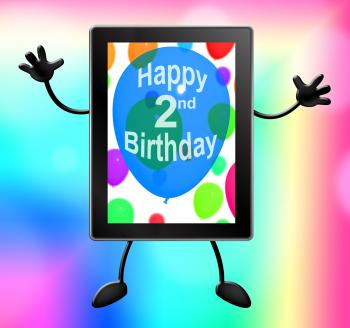 Multicolored Balloons For Celebrating A 2nd or Second Birthday Tablet