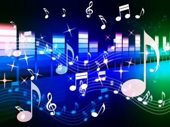 Multicolored Music Background Shows Song RandB Or Blues