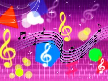 Music Background Shows Pop Rock And Instruments