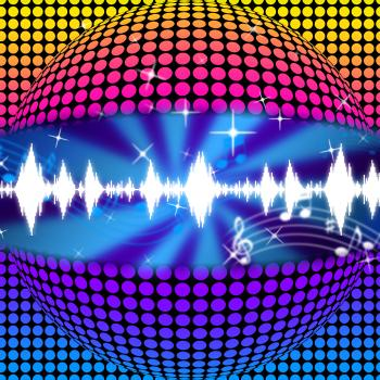 Music Disco Ball Background Means Soundwaves And Partying