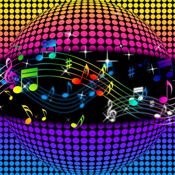 Music Disco Ball Background Shows Colorful Musical And Clubbing
