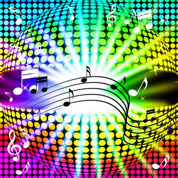 Music Disco Ball Background Shows Songs Dancing And Beams