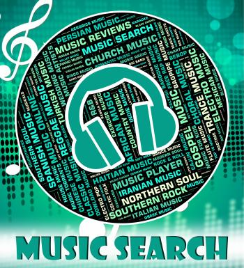 Music Search Represents Sound Track And Audio