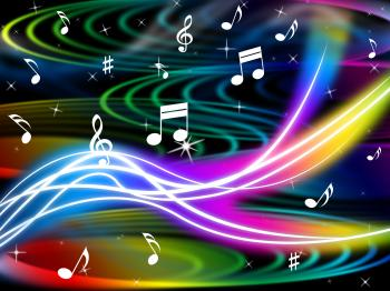 Music Swirls Background Shows Flourescent Musical And Tune