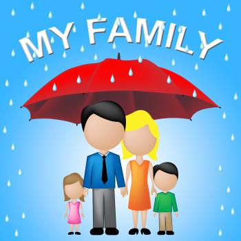 My Family Shows Parasol Umbrella And Sibling