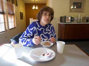 My mom eating breakfast