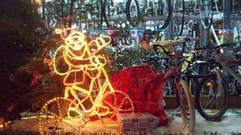 Neon Sporty Santa and bikes