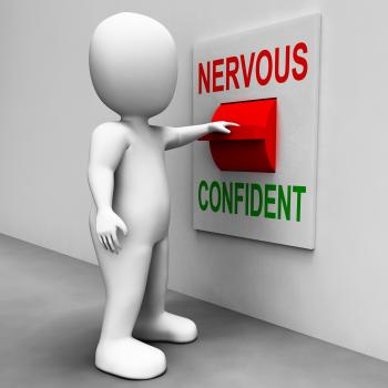 Nervous Confident Switch Shows Nerves Or Confidence