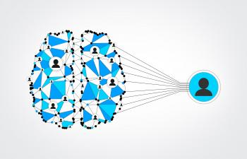 Network of People - Brain Wired to Be Social - Blue Mesh