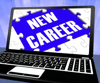 New Career On Laptop Showing New Employment