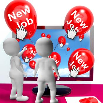 New Job Balloons Show Internet Congratulations for New Jobs