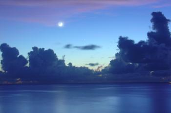 New Moon Setting Over The Caribbean