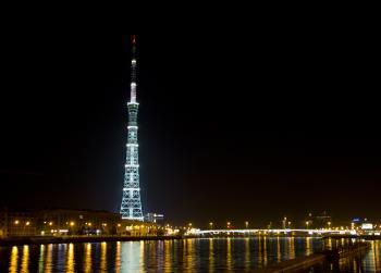 Night TV tower silhouette scene