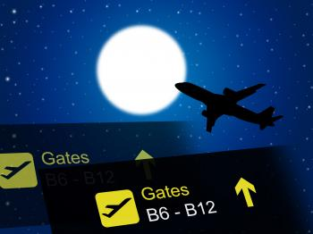 Nighttime Flight Shows Global International And Air