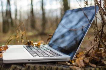Notebook Computer in Forest
