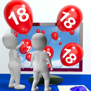 Number 18 Balloons from Monitor Show Online Invitation or Celebration