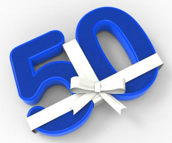 Number Fifty With Ribbon Shows Fiftieth Birthday Celebration Or Specia