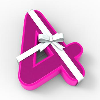 Number Four With Ribbon Displays Birthday Party Presents Or Congratula