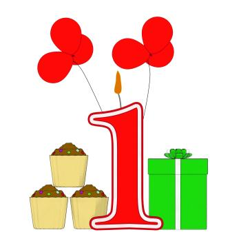 Number One Candle Shows One Year Birthday Party Or Celebration