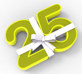Number Twenty Five With Ribbon Displays Twenty Fifth Birthday Or Celeb