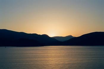 Ocean view mountains sunset