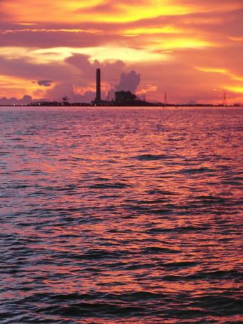 Oil Terminal at Sunset