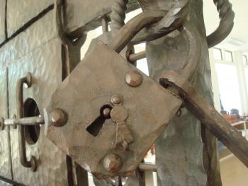 Old metal padlock
