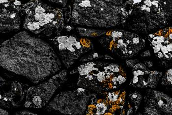 Old Stone Background With Lichen
