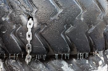 Old Tire with Chain
