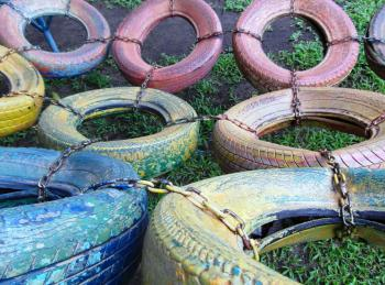 Old Tyres Climbing Frame