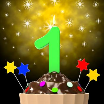 One Celebration Indicates Happy Birthday And 1