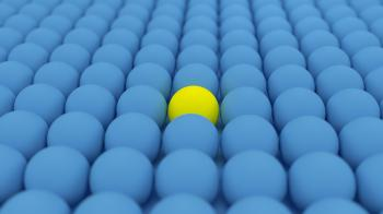 One Yellow  Ball Among Blue Balls