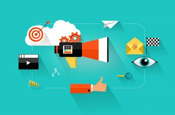 Online content marketing and web analytics concept