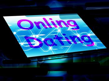 Online Dating On Phone Shows Romancing And Web Lover