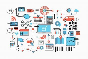 Online Shopping Concept - Flat Line Design