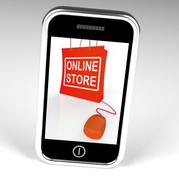 Online Store Bag Displays Shopping and Buying From Internet Stores