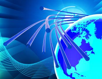 Optical Fiber Network Means World Wide Web And Communicating