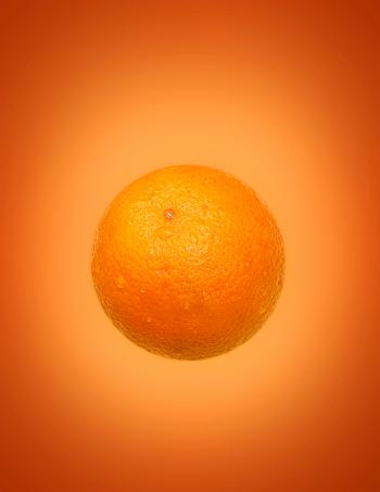 Orange (Fruit) on Orange (Background)