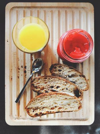 Orange Juice, Jam And Bread