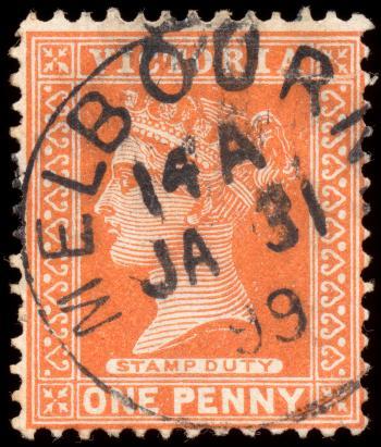 Orange Queen Victoria Stamp