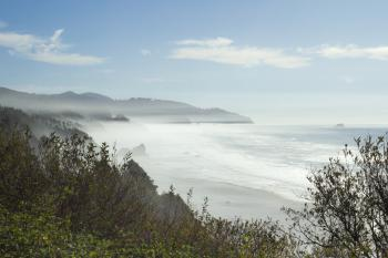 Oregon coast with fog