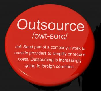 Outsource Definition Button Showing Subcontracting Suppliers And Freel