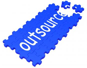 Outsource Puzzle Showing Subcontract And Employment