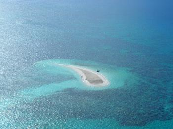 Oval White Sand Island at Daytime