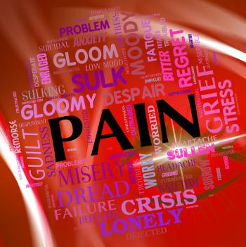 Pain Word Represents Torment Discomfort And Text