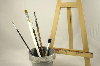 Paint brushes and display easel