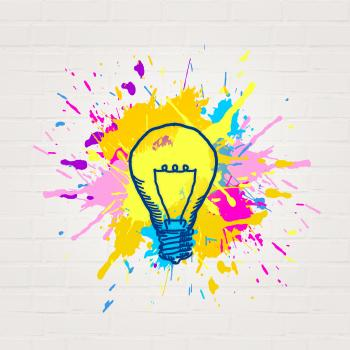 Painted Lightbulb - Creativity and Imagination Concept - Abstract